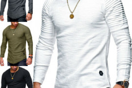 Mens Slim Fit O Neck Long Sleeve Pullover Muscle T
